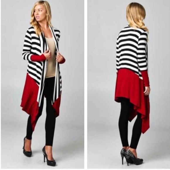 Plus Size Striped Black/Burgundy Cardigan Black & white striped colorblock cardigan with gorgeous accents of burgundy. Lightweight. 96% Rayon, 4% Spandex. Made in USA. Sweaters Cardigans