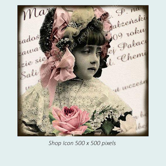 Shop icon Design Vintage girl instant by PearlsDigitalDesigns