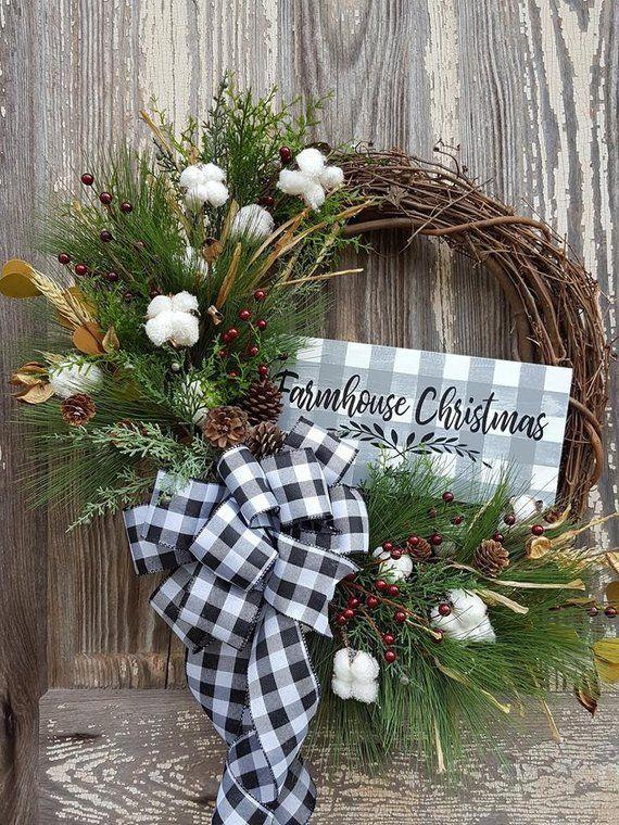 Farmhouse Christmas Wreath Rustic Wreath Buffalo Plaid Bow Etsy Christmas Wreaths Diy Christmas Wreaths Christmas Signs Wood