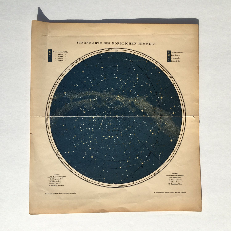 Northern Hemisphere Stars Lithograph