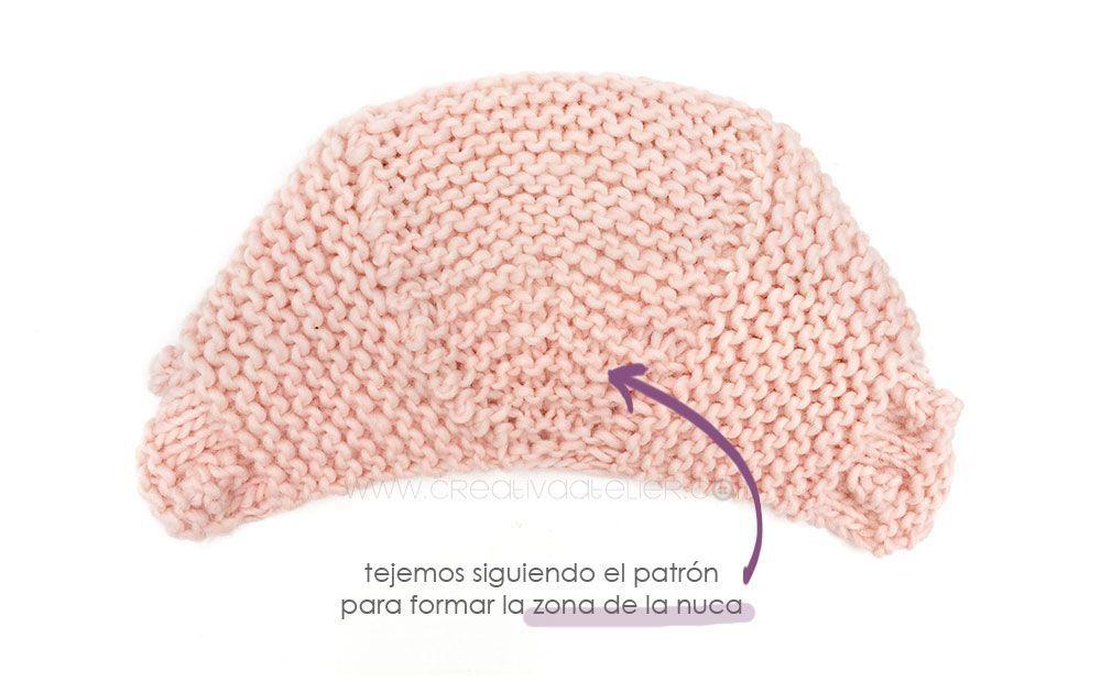 fe5c03095 Capota de bebe de punto bobo de lana tejida a dos agujas - Patrón y tutorial  DIY