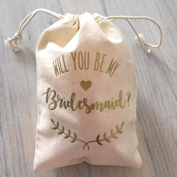Be My Bridesmaid Floral Drawstring Bags | Custom Totes ...