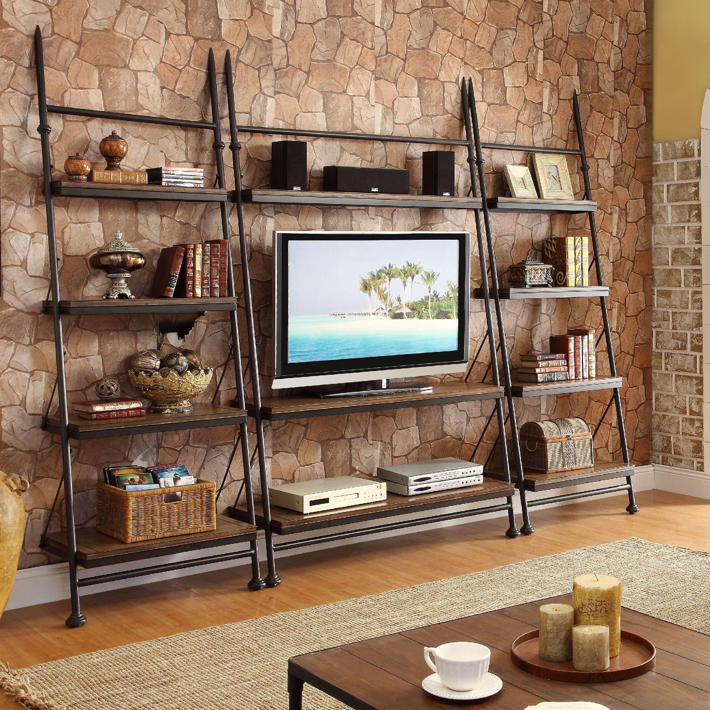 Perfect Entertainment Center For A Causal Living Room Space Love This Unique Piece Livingroom Riverside Furniture Entertainment Center Leaning Bookcase