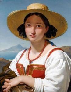"""""""Napolitaine au chapeau de paille et collier de corail devant la baie de Naples."""" Jan Adam Janszoon Kruseman Haarlem"""
