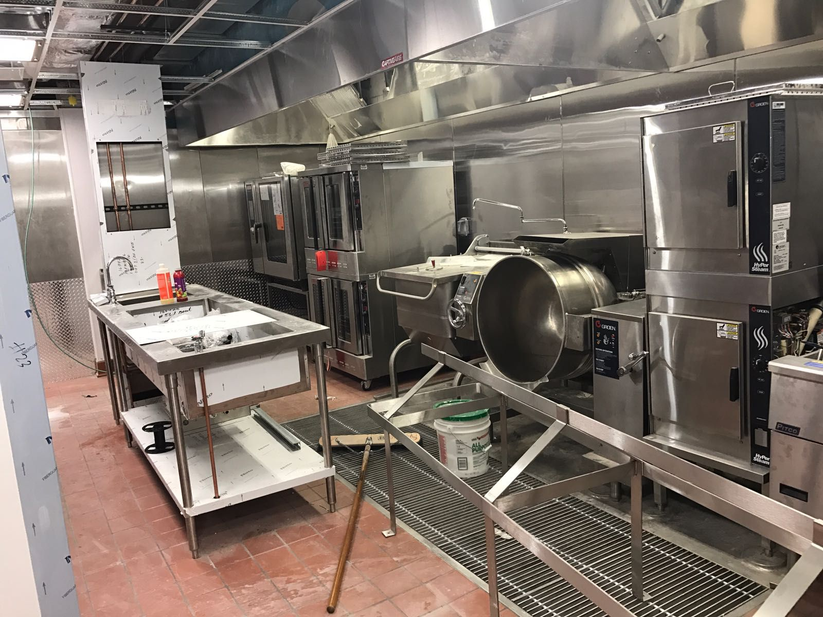 Commercial Kitchen With A Pitco Fryer Groen Steamer Groen