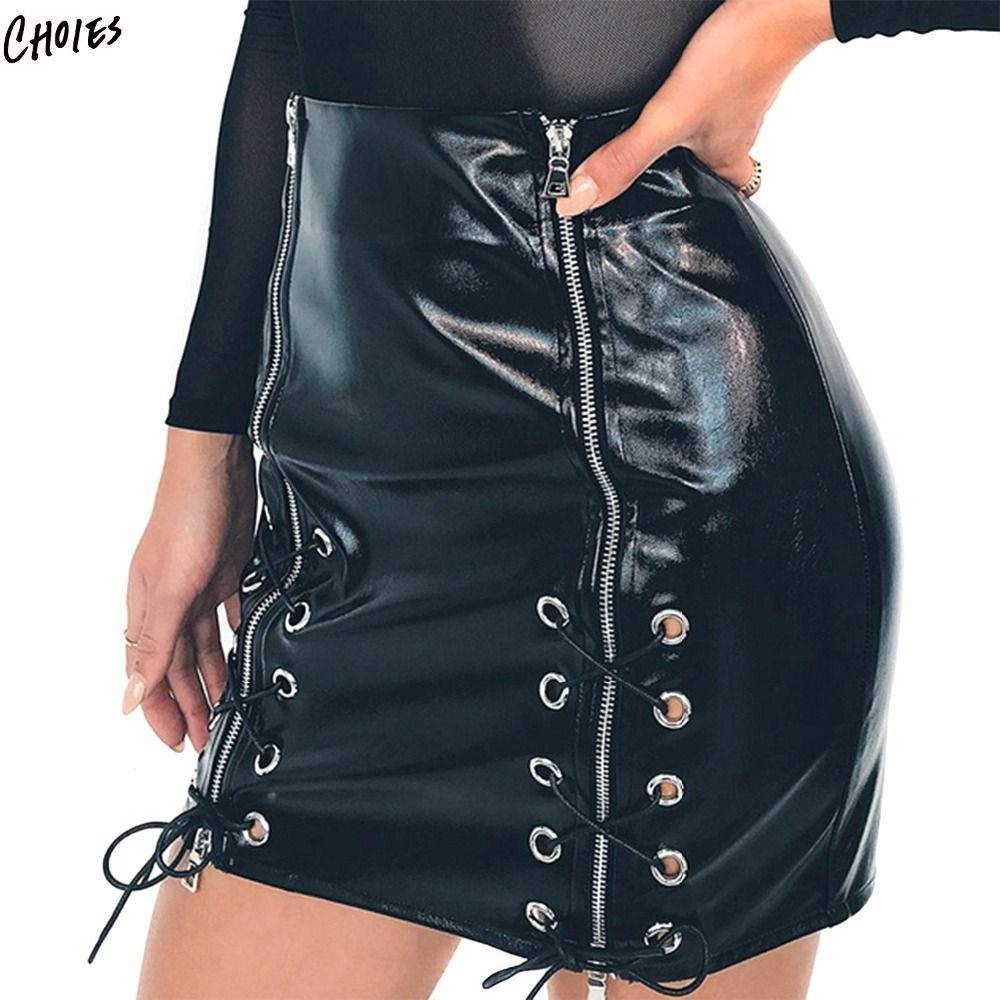 d3b3c161b9840a Cheap women skirt shorts, Buy Quality pencil mini skirt directly from China mini  skirt Suppliers: Black High Waist Eyelet Lace Up Front Leather Look Pencil  ...