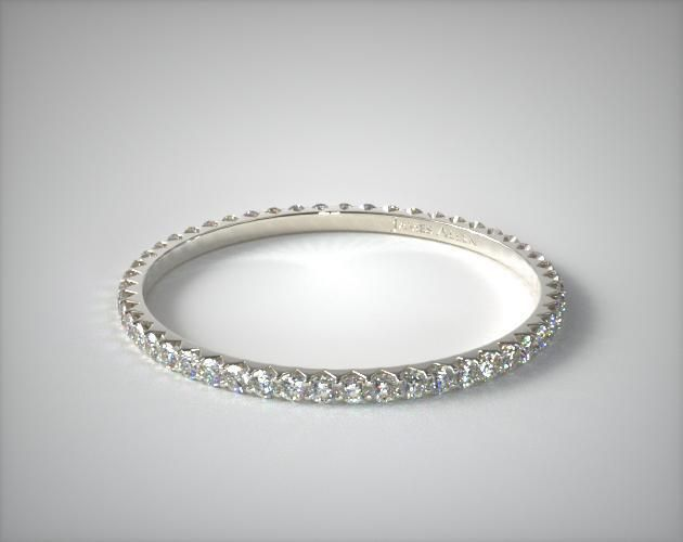 56292 wedding rings, womens eternity, 14k white gold ladies 028ctw angled common prong diamond eternity ring item - Mobile