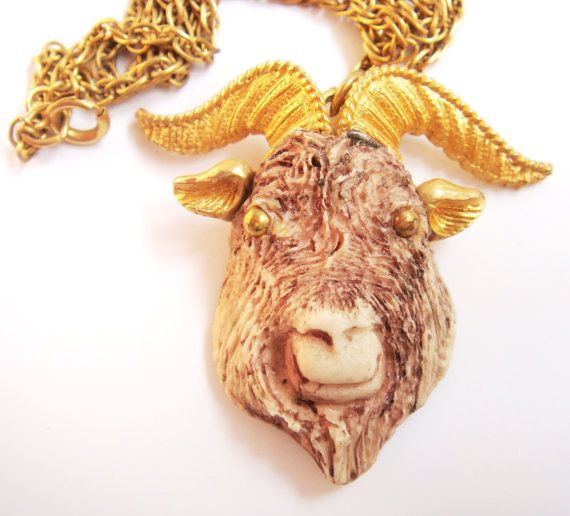 Vintage 70s Zodiac Necklace Capricorn Goat Razza by Flourisheshome #GotVintage  #Vintage  #Jewelry