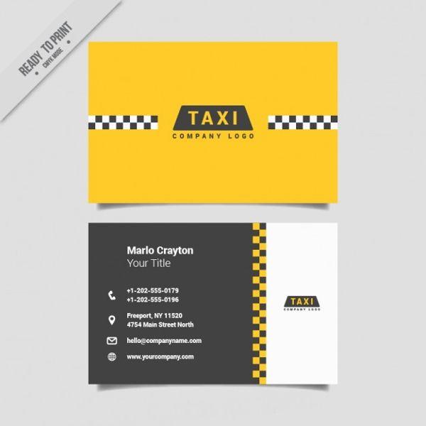 Biglietto Da Visita Taxi Giallo Con Modello Di Vettore Di Colore