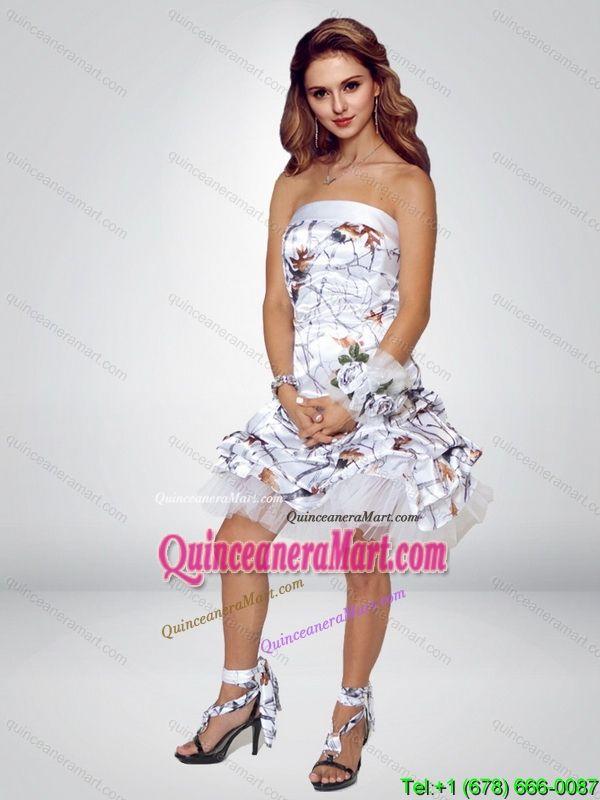 Spring Short Strapless Knee Length Camo Prom Dresses   Sweet 16 ...