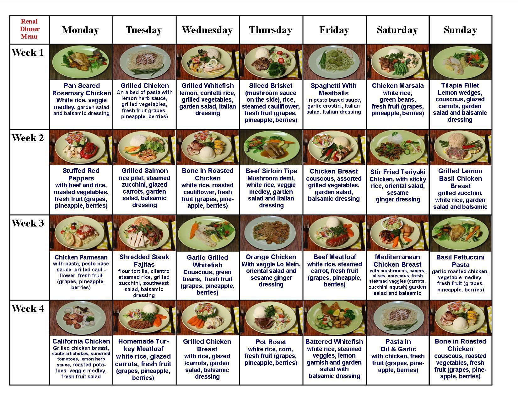Diabetic Meal Plans Diabetic Meals Renal Diet Foods Low Potassium Diet Renal Diet Recipes Low Potassium Diet Renal Diet