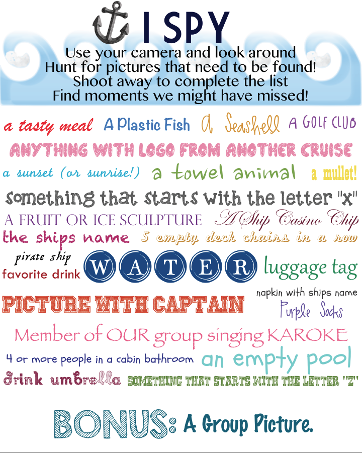 Exclusive, Free Family Cruise Scavenger Hunt Printable - Family ...