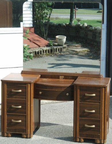Vintage 7 Drawer Wooden Vanity Dresser Bureau W Large