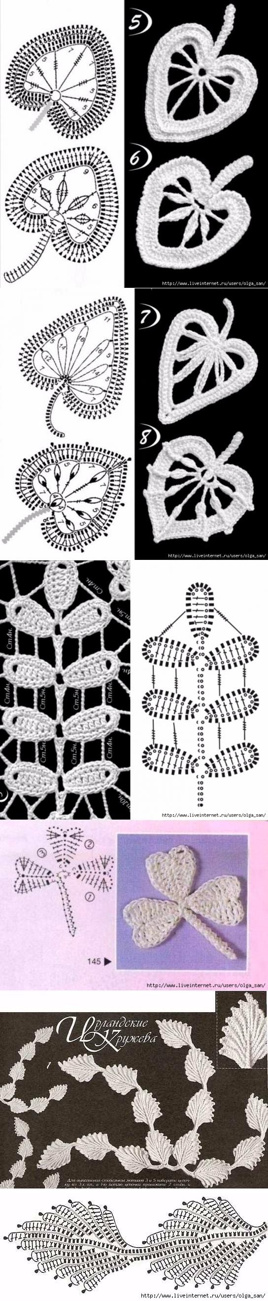 Ирландское кружево.   Crochet irlandés, Tejido y Ganchillo