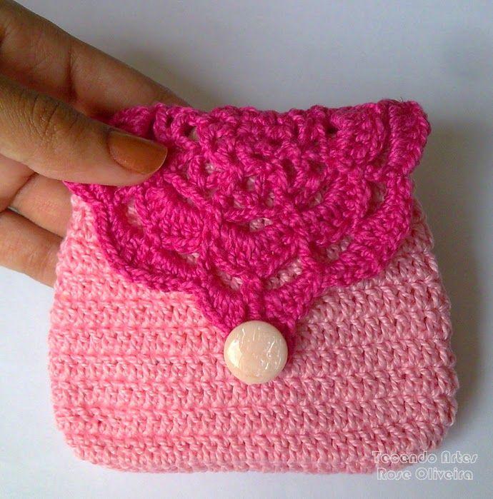 Crochet y Dos agujas: Monedero bonito para tejer al crochet ...