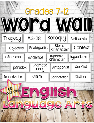 free english language arts word wall for grades 7 12 on what is a wall id=41015