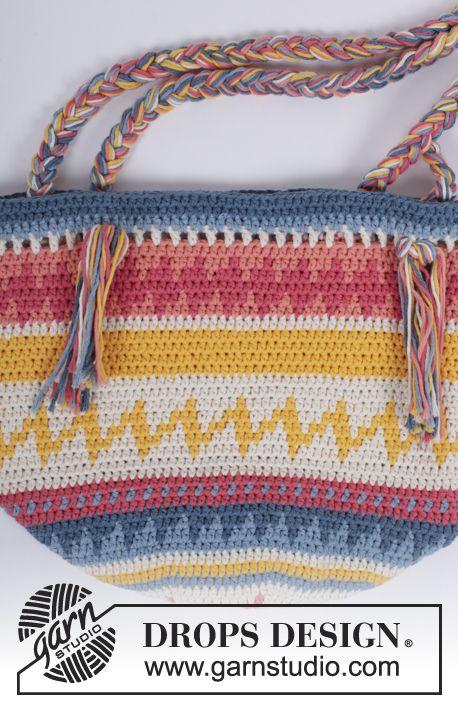 Gehäkelte Tasche Mit Mehrfarbigem Muster In Drops Paris Kostenlose