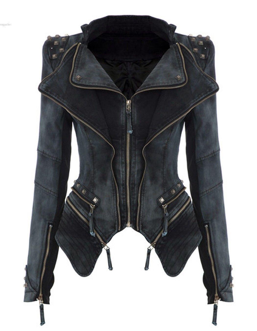031dd4b2297f Hufcor Women Slim Fit Studded Denim Jacket Punk Lapel Tuxedo Zipper Moto Blazer  Jacket -- You can find more details by visiting the image link.