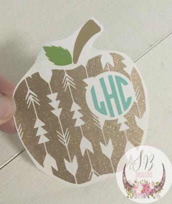 Teacher Apple Custom Monogram Decal Shop Sophie Breanna Designs - Custom vinyl decals for laptop