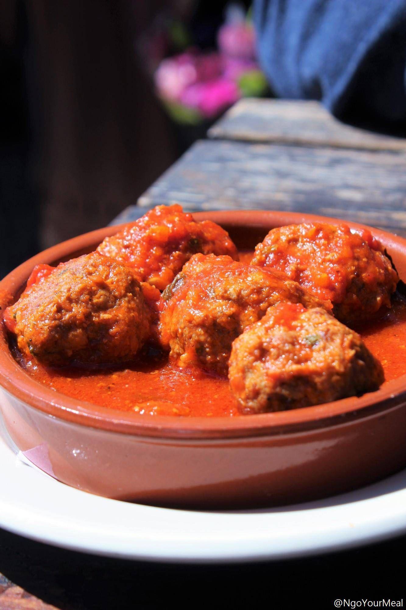 Albondigas Spiced Meatballs In Jamon Tomato Sauce At Barcelona Wine Bar In Boston Barcelona Wine Bar Meals Cured Meats