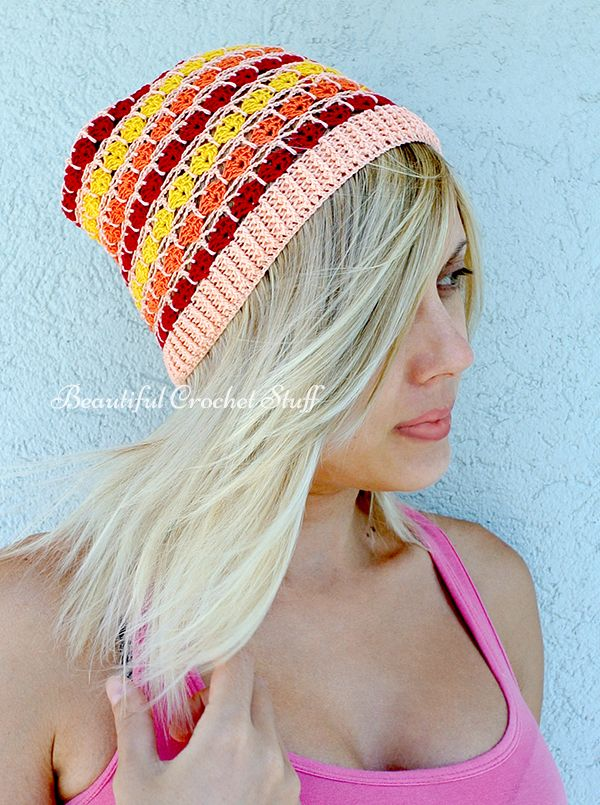 Crochet Summer Beanie Free Pattern What a fun, colorful hat, a must ...