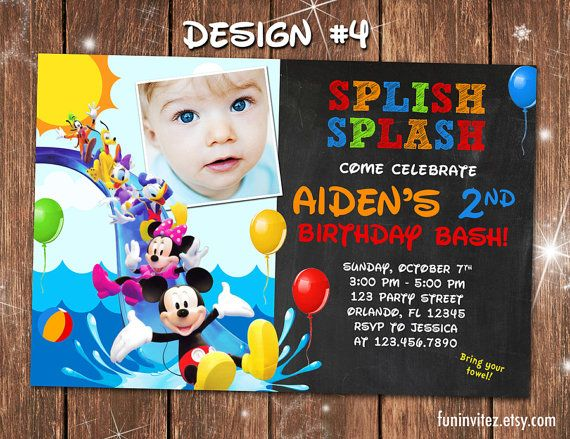 Mickey Mouse Clubhouse Swim Beach Slide Birthday Party Photo Invitations  Pool Splash   Printable