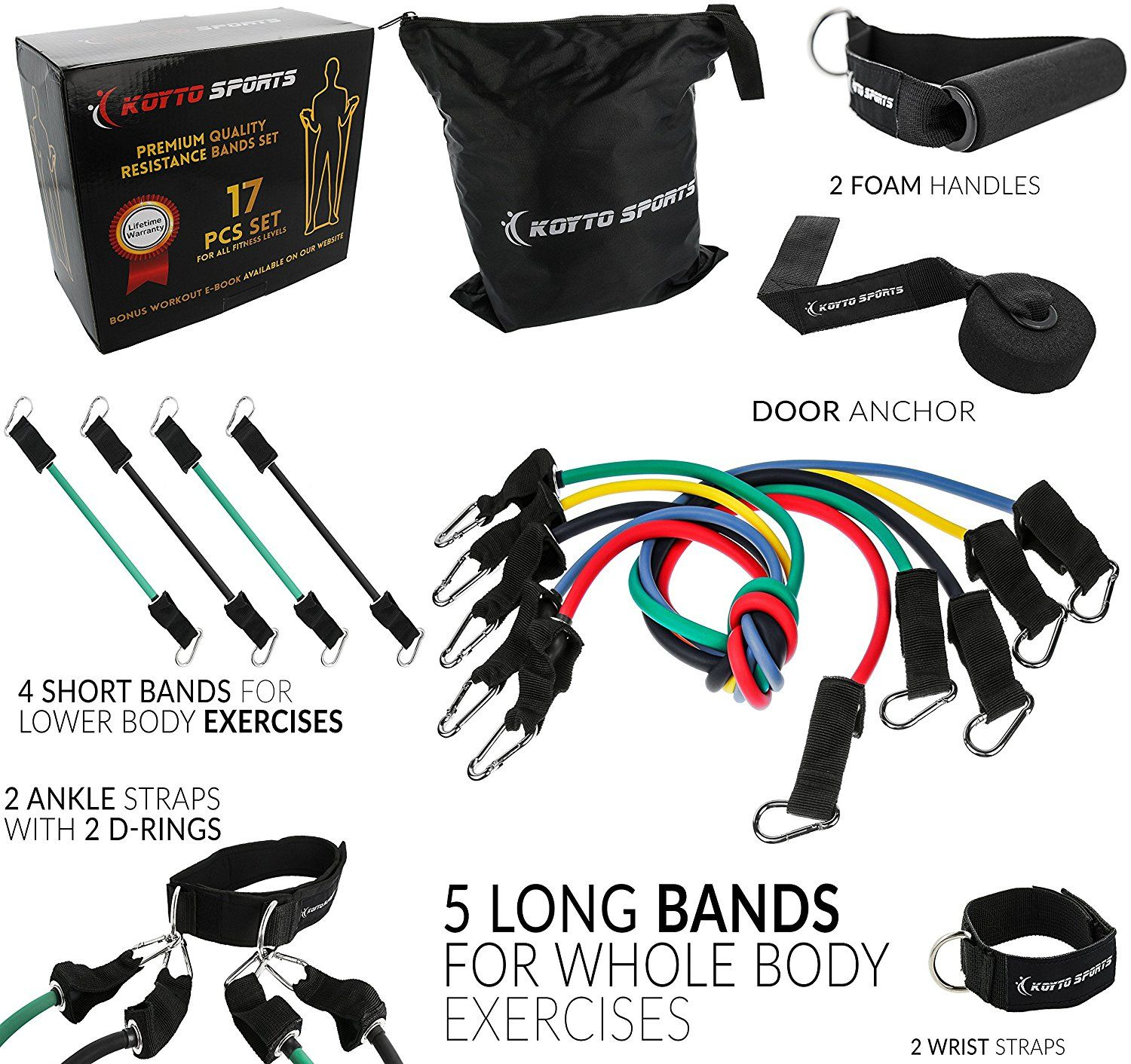 Resistance Bands Set - 17 pieces Set of 5 Long Exercise Bands and 4 ...