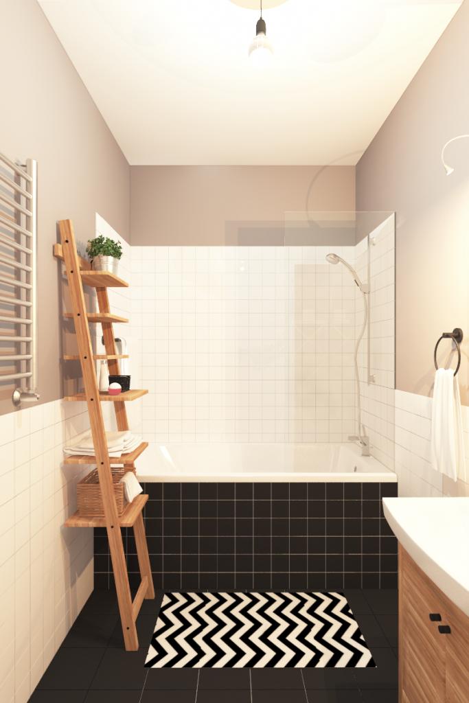 Wohnung im Skandinavischen Stil// Badezimmer mit Möbeln im ...