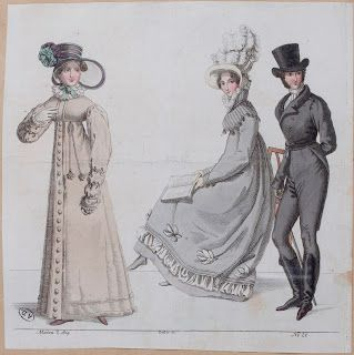 Fashions 1819, found from Scene in the Past Flickr via Serendipitous Stitchery: A study on Empire coats from 1810-1830, with a note on researching