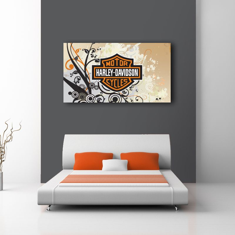 For The Hog Enthusiast In All Of Us. Beautiful Harley Davidson Logo Design  On Canvas Part 57
