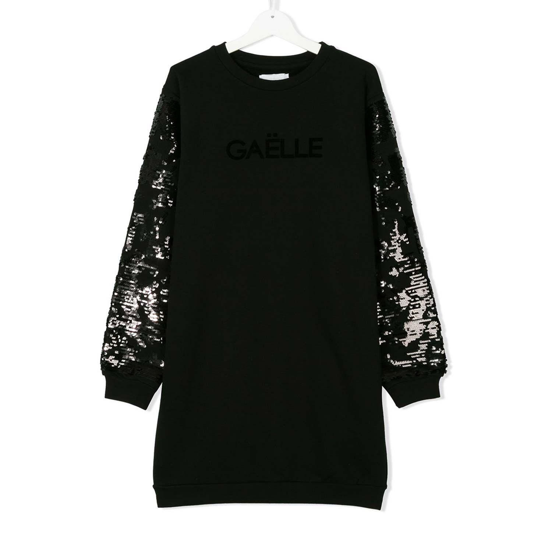208564e65123 Gaelle Paris - Abito Girl Nero Strass Esclusivo abito nero in felpa con  paillettes firmata Gaelle