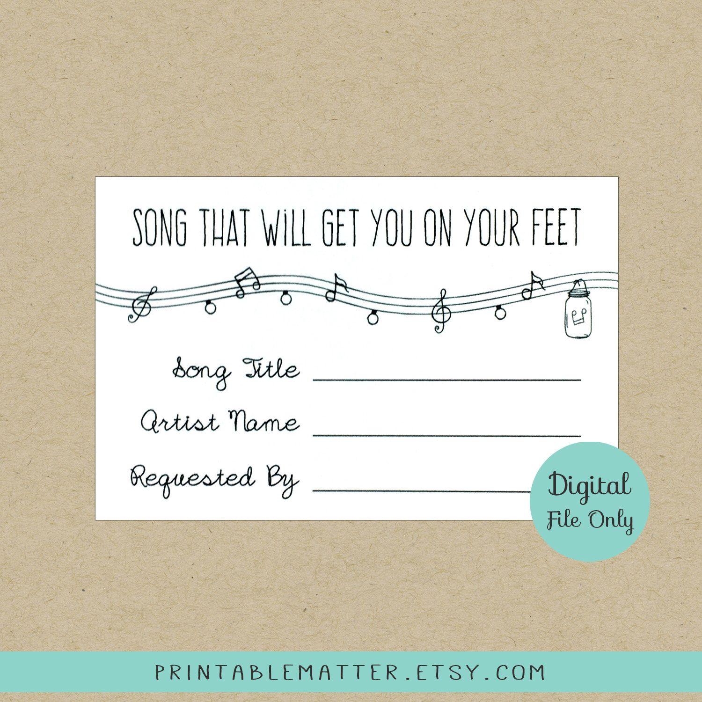 ANNABELLE: Editable Wedding Song Request Card - Rustic Mason Jar ...