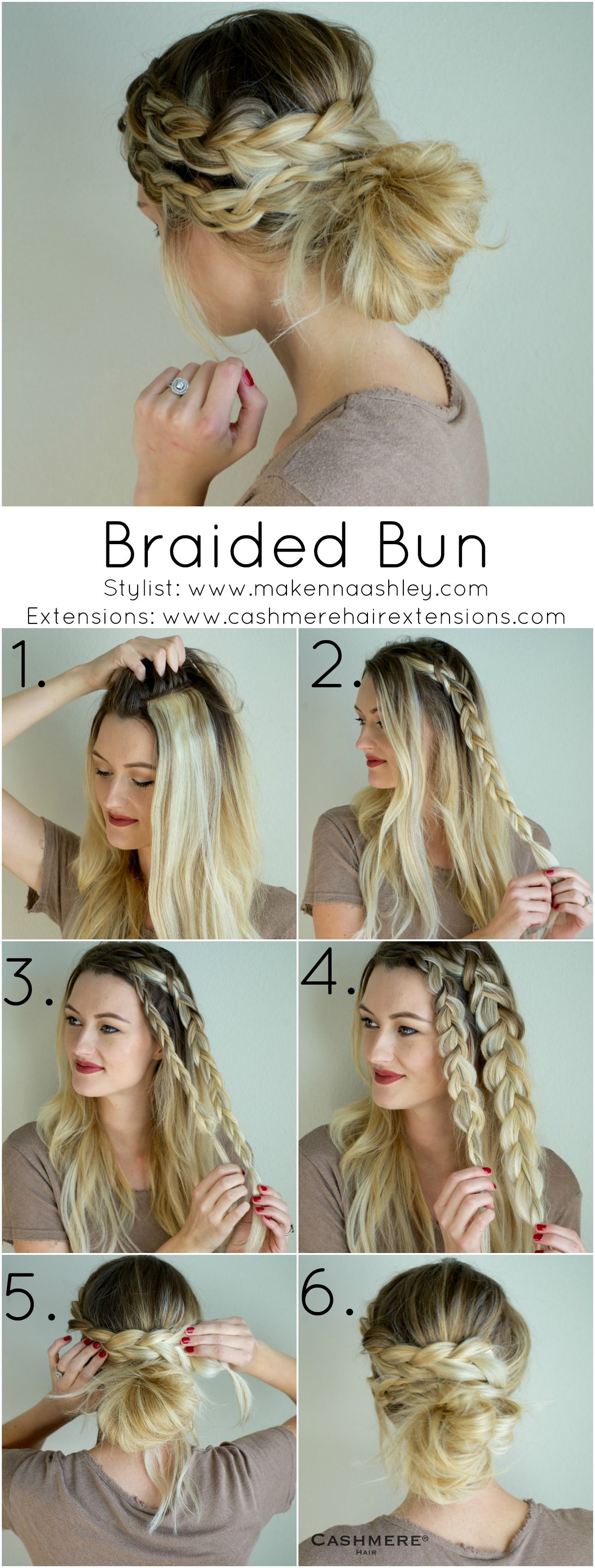 Braided Bun With Clip In Extensions • Cashmere Hair Clip In Extensions