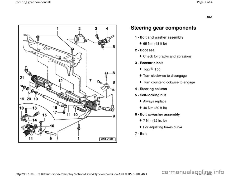 Audi A4 2000 B5 1 G Suspension Steering Gear Components Workshop Manual Audi A4 Manual Car Manual