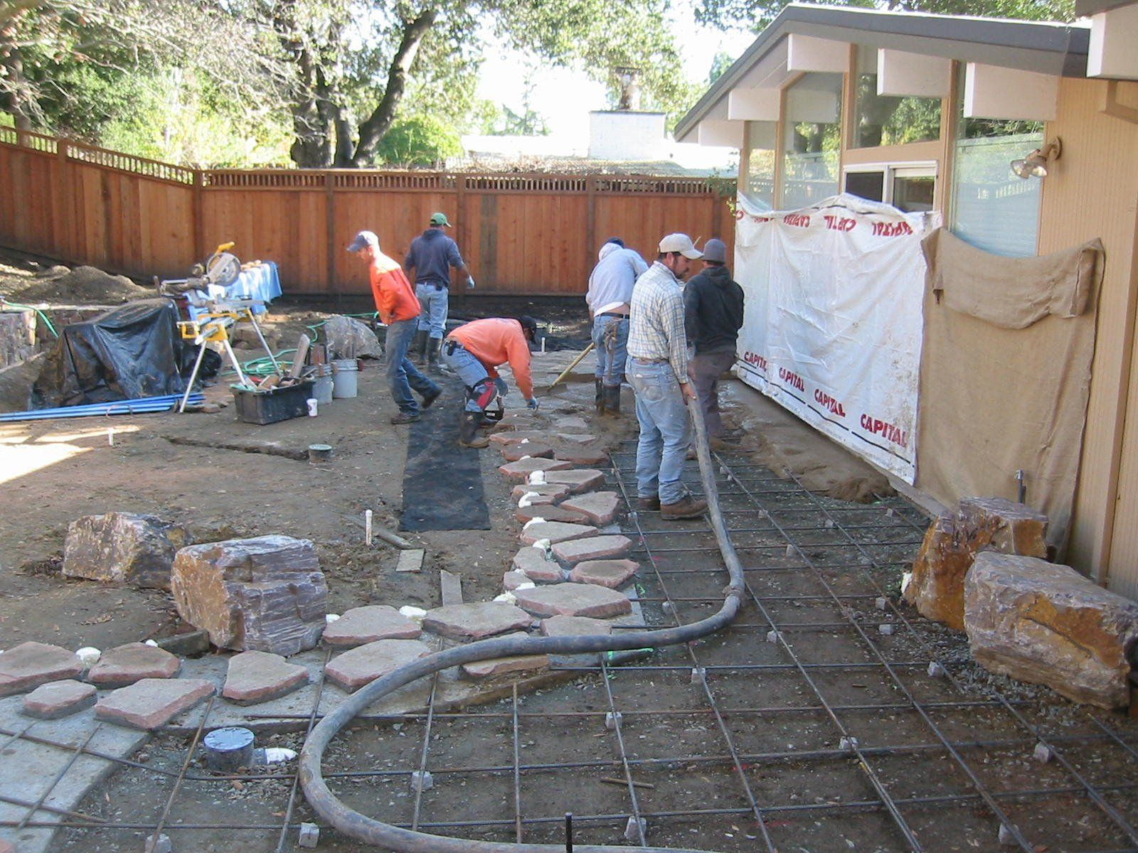 Cement Patio Cost Poured Concrete Wall Designs Resurfacing Stamped Patios  Exterior Grey Overlay Floor With Brown Wooden Imprinted Fence And Roof  Creative ...
