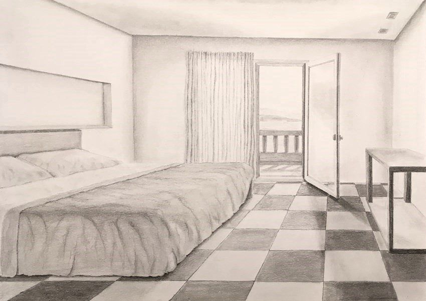 How To Draw In Linear Perspective Bedroom Pencil Drawing In One Point Perspective Room Perspective Drawing Perspective Drawing Perspective Room