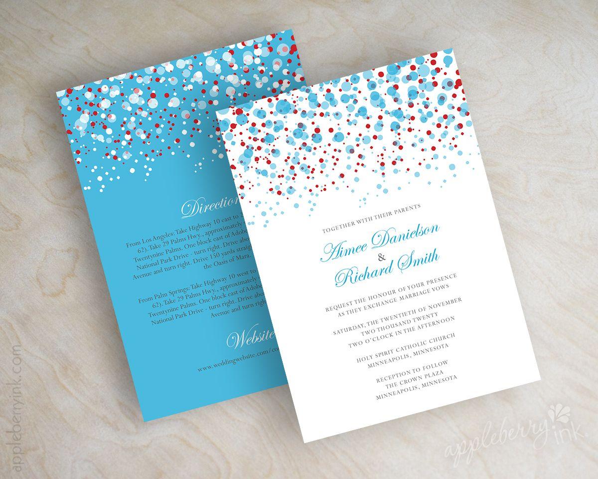 Cyan and red, aqua polka dot wedding invitations, wedding invites ...