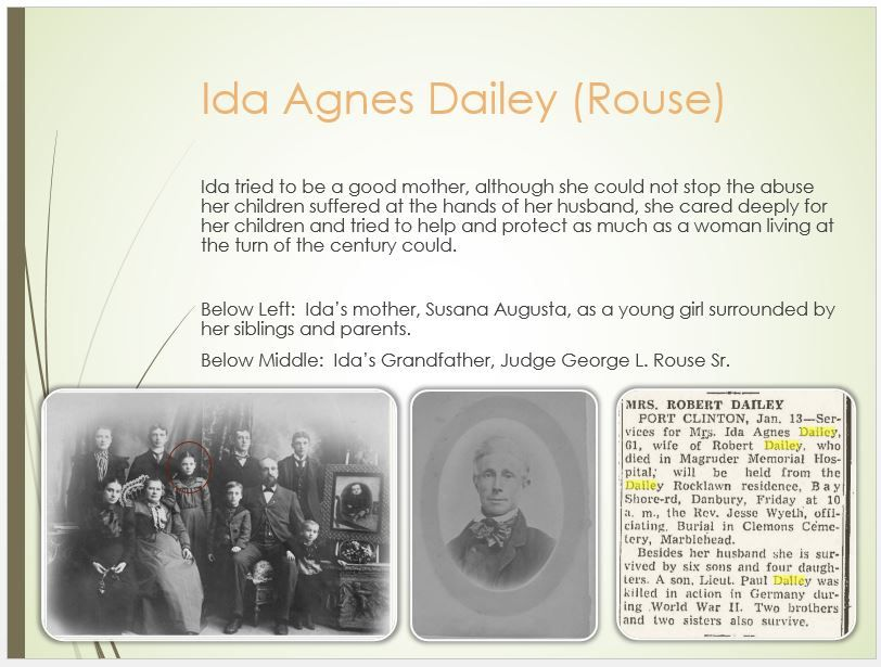 Dailey Family Tree - page 33 Ida Agnes Rouse Death