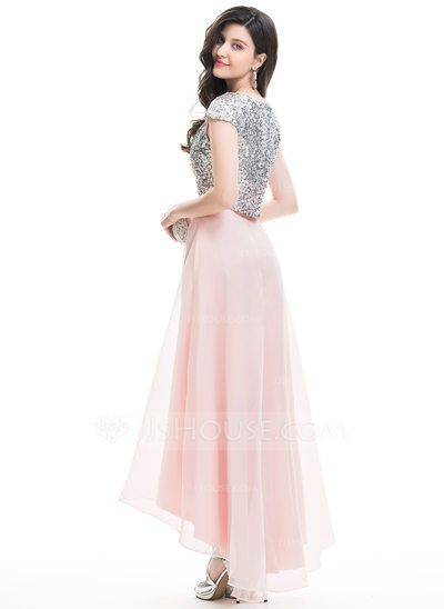 e7694641839 A-Line Princess Scoop Neck Asymmetrical Beading Zipper Up Sleeves Short  Sleeves No Pearl Pink Spring Summer Fall General Plus Organza Hight 5.7ft  Bust 32in ...