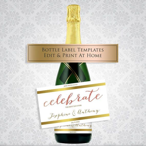 printable champagne label celebration label template wedding wine