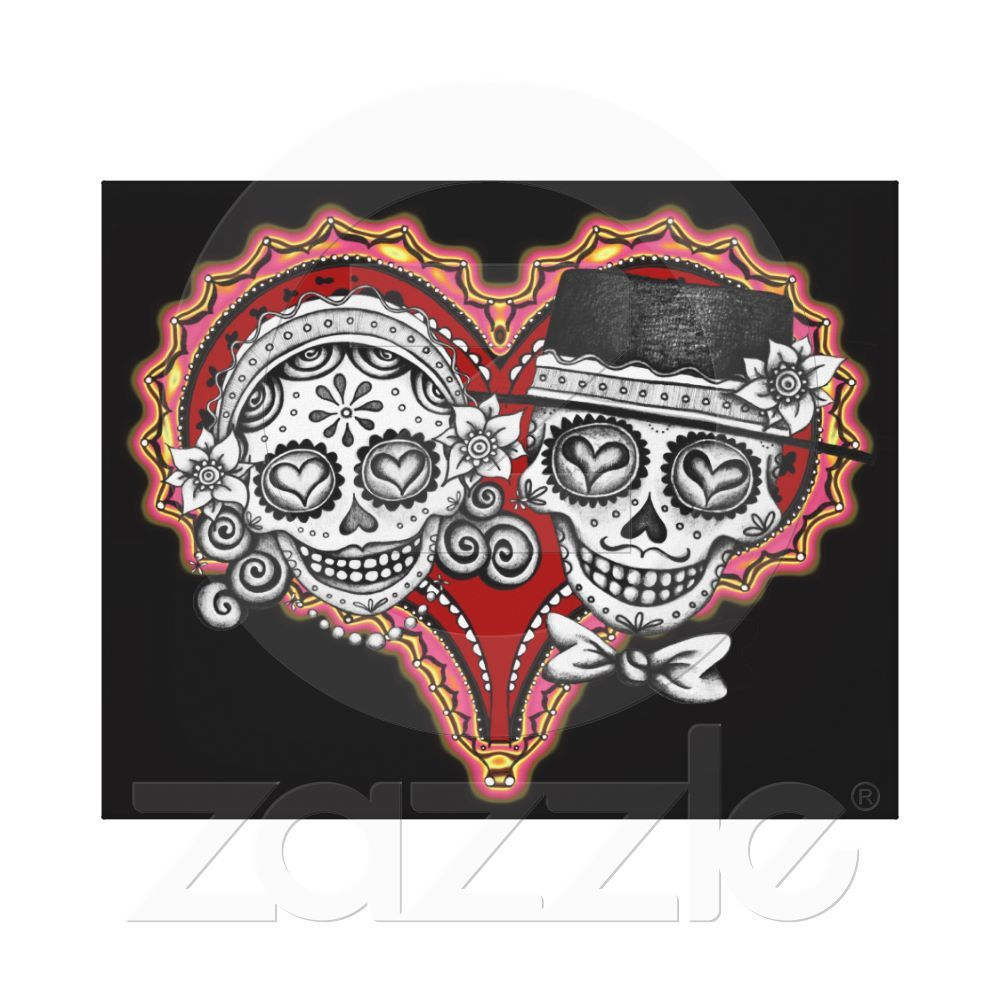 Day Of The Dead Sugar Skull Couple Art On Canvas Stretched Print From Zazzle