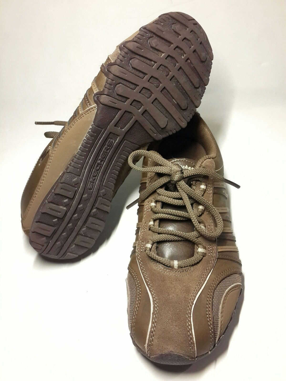 Skechers Women's Brown Leather Sneakers Tennis Shoes Size 9.5