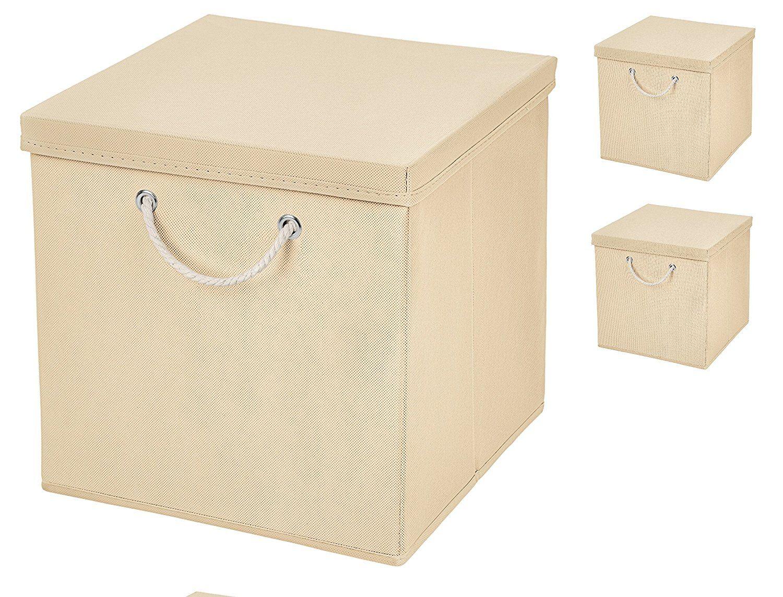 3er Set Creme Faltbox 30 X 30 X 30 Cm Aufbewahrungsbox Von