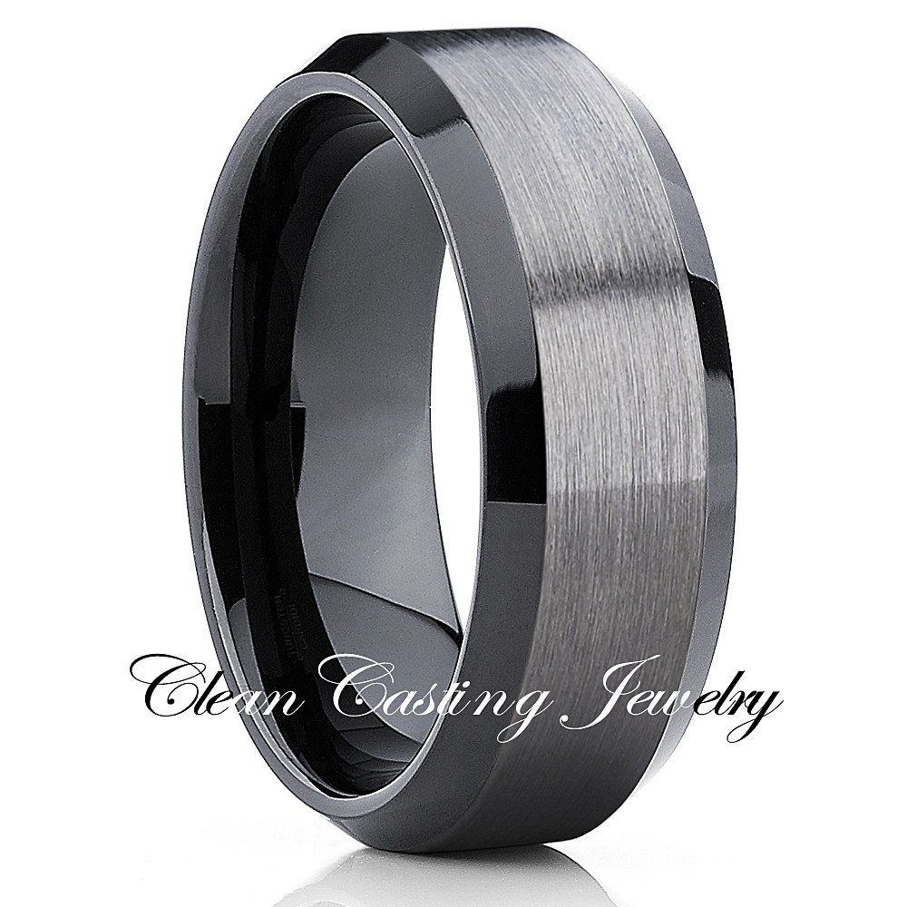 10mm Black Tungsten Ring Gunmetal Ring Comfort Fit Tungsten Carbide Ring Wedding Band Brushed Fi Black Tungsten Wedding Band Tungsten Wedding Bands Black Rings