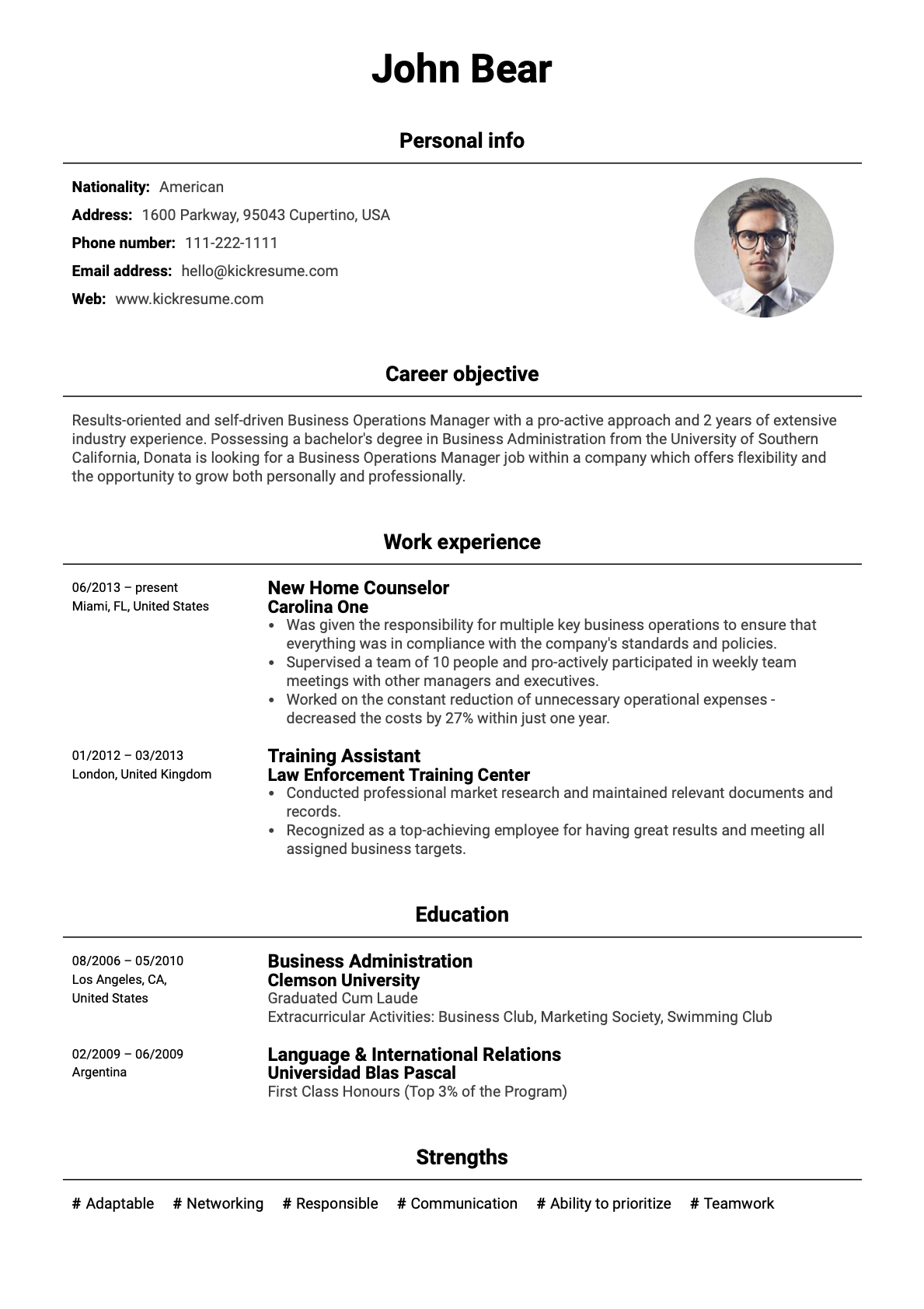 Business Operations Manager Resume Sample Job Resume Examples Cover Letter For Resume Cover Letter Builder