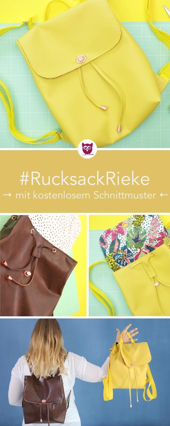 [Werbung] : Kleinen Rucksack nähen mit kostenlosem Schnittmuster. Mit Innentasche, Kordelzug, Ösen, Drehverschluss aus