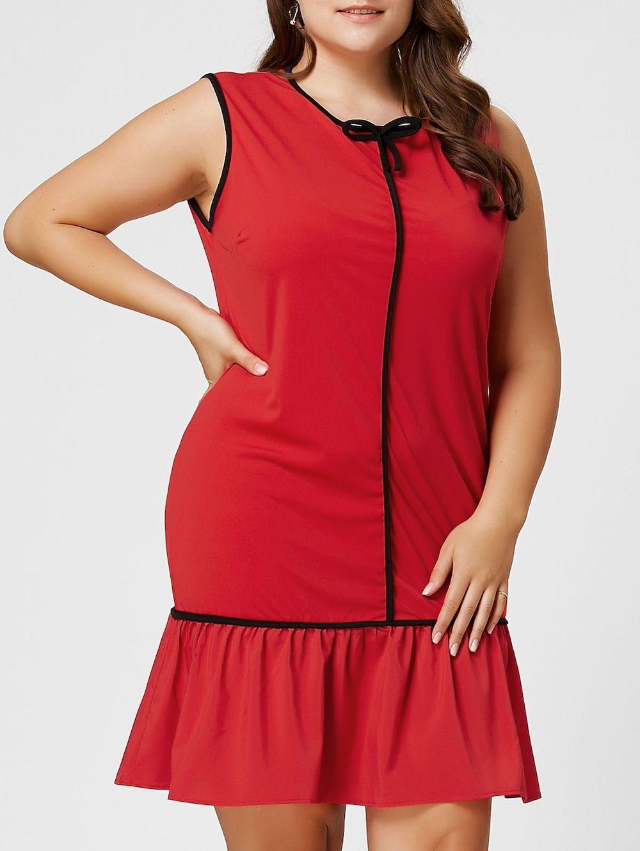 Plus size bowknot ruffle drop waist dress