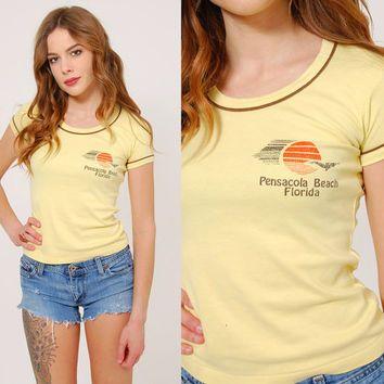 785f9dc67ac14 Vintage 70s FLORIDA T-Shirt YELLOW Tee Shirt SOUVENIR Shirt Tint Fit ...