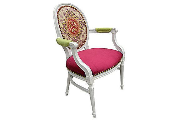 French Louis Chair Iman Fabric Rose Pink Velvet