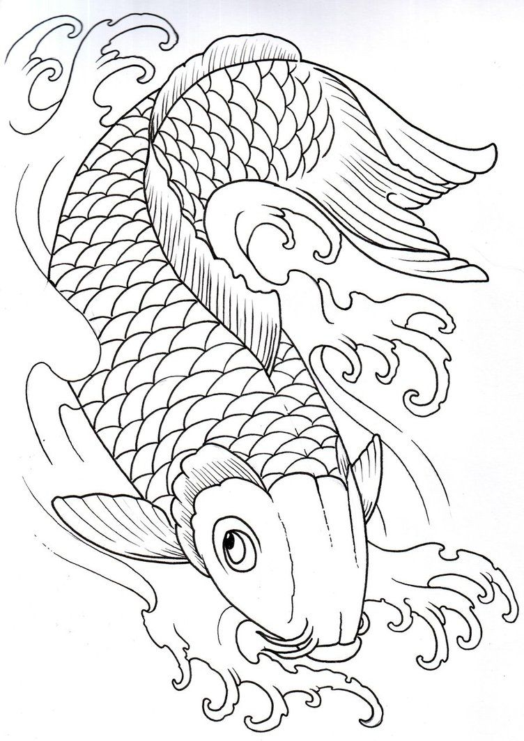 Koi Outline 2 by vikingtattoo on deviantART